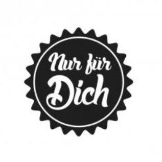 """Stempel / Stamp: Holz / Wood Holzstempel, tyske tekst, """"bare for dig!"""""""