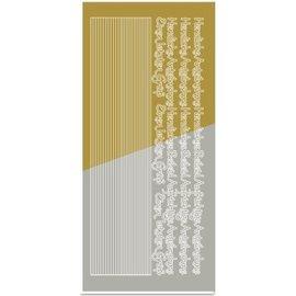 Sticker Sticker, Kombi-Sticker,( Ränder, Ecken, Texte) Kondolenz, gold-gold