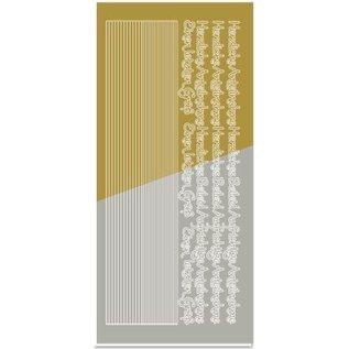 Sticker Stickers, combi Sticker, (edges, corners, texts) condolence, gold-gold