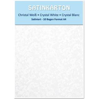 DESIGNER BLÖCKE / DESIGNER PAPER Satinkarton A4, beidseitig satiniert mit Prägung 250gr. / qm, Kristall, weiß