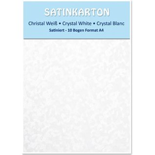 Karten und Scrapbooking Papier, Papier blöcke Satin pap A4, dobbeltsidet satin 250gr med prægning. / Kvm, krystal, hvid