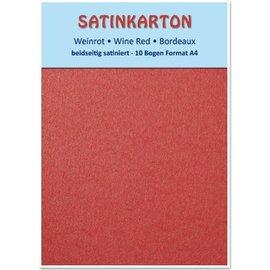 Karten und Scrapbooking Papier, Papier blöcke Satinkarton A4, beidseitig satiniert mit Prägung 250gr. / qm, Weinrot