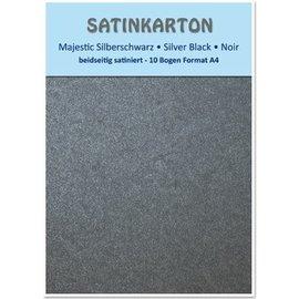"DESIGNER BLÖCKE / DESIGNER PAPER Satin papp A4, tosidige satin 250gr med preging. / Kvadratmeter, ""Majestic"" sølv svart"
