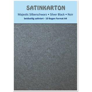 """DESIGNER BLÖCKE / DESIGNER PAPER Satinkarton A4, beidseitig satiniert mit Prägung 250gr. / qm, """"Majestic"""" silberschwarz"""