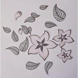 timbres transparents, des fleurs et des feuilles