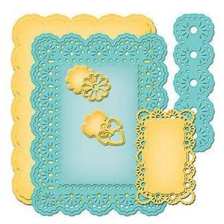 Spellbinders und Rayher Spellbinders Stamping and Embossing stencil, Nestabilities, decorative frame and label