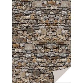 DESIGNER BLÖCKE / DESIGNER PAPER 5 feuilles de papier cartonné avec apparence de pierre, la pierre naturelle, brun
