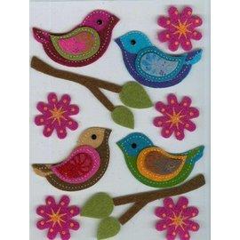 Sticker Filz 3D etiqueta, pássaro, ramo, e flores