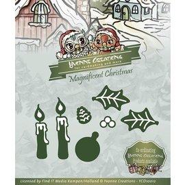 Yvonne Creations Estampado y Repujado plantilla, Yvonne Creations, Magnífico de Navidad, velas Set