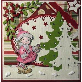 Nellie Snellen Ponsen en embossing sjabloon Nellie`s Multi frame, de kerstboom