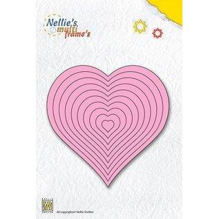Nellie Snellen Ponsen en embossing sjabloon Nellie`s multiframe, hart