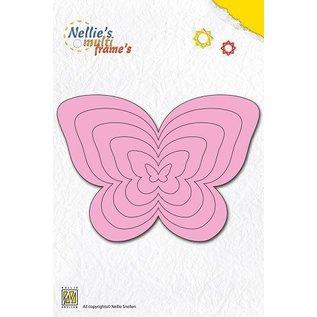 Nellie Snellen Ponsen en embossing sjabloon Nellie`s multiframe, vlinders