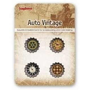 Embellishments / Verzierungen ScrapBerry's Set Of Metal Cork Car Vintage