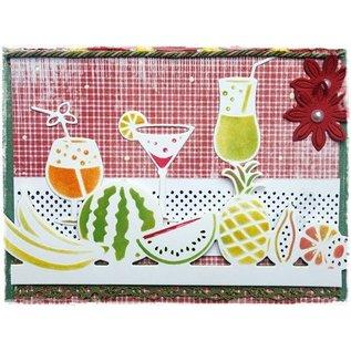 Joy!Crafts / Jeanine´s Art, Hobby Solutions Dies /  Stansning og prægning stencil grænse med frugt