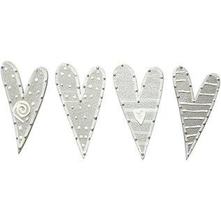 Embellishments / Verzierungen Sticker, Größe 25x45 mm, 8 Herze, sortiert