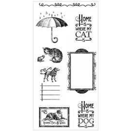 GRAPHIC 45 Timbro di gomma, Raining Cats & Dogs