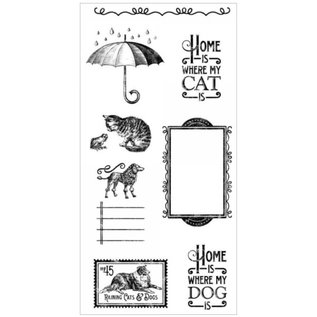 GRAPHIC 45 Rubber Stempel, Raining Cats & Dogs