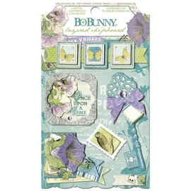 BO BUNNY Stickers, Chipboard Enchanted Garden ordenados,