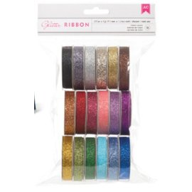 DEKOBAND / RIBBONS / RUBANS ... A Set of 18 Glitter decorative ribbons !!