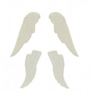 Embellishments / Verzierungen Set ailes métalliques, 4 pièces, blanc