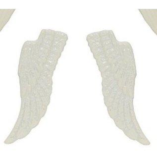 Embellishments / Verzierungen Metal Set vleugels, 4 stuks, wit