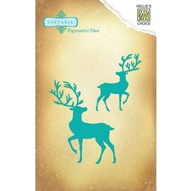 Nellie Snellen Punching and embossing template Vintasia, reindeer