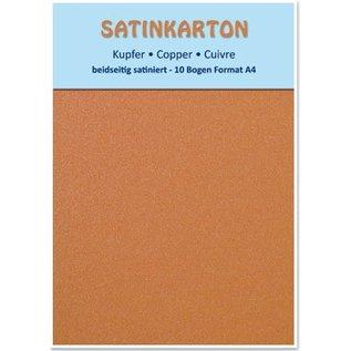 DESIGNER BLÖCKE / DESIGNER PAPER 10 ark, karton Metallic Set A4, metallisk satineret overflade på begge sider, 250gr. / Kvadratmeter, kobber