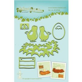 Leane Creatief - Lea'bilities Leabilities, stamping - and embossing stencil Young birds with nest