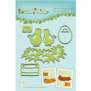 Leane Creatief - Lea'bilities Leabilities, stempling - og prægning stencil Unge fugle med reden