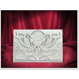 BASTELSETS / CRAFT KITS 3 Exclusive Rosenkarten weiss + Umschläge