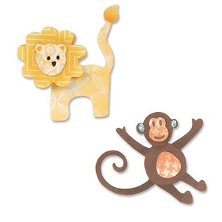 Sizzix Stempling og prægning stencil, ThinLits, løve og abe