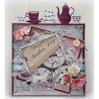 Joy!Crafts / Jeanine´s Art, Hobby Solutions Dies /  Joy Crafts, Stanz - und Prägeschablone, Bordüre mit Kaffeeservice