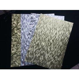 DESIGNER BLÖCKE / DESIGNER PAPER A4 vel gelamineerd karton plaat in metaal graveren, 4 vellen, goud en zilver