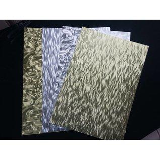 DESIGNER BLÖCKE / DESIGNER PAPER A4 ark lamineret pap plade i metal gravering, 4 ark, guld og sølv
