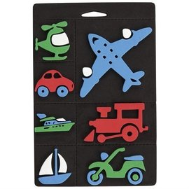 Kinder Bastelsets / Kids Craft Kits Foam rubber stamp set, transport, train and airplane for children