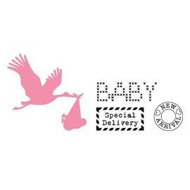 Marianne Design Corte y estampación plantillas, de colección, Cigüeña con el sello del bebé +
