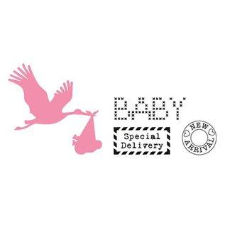 Marianne Design Skæring og prægning stencils, Samlerobjekter, Stork med baby