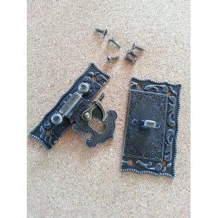 Embellishments / Verzierungen Nostalgisk Scrapbook lås, 1 stk, 5 x 4,3cm