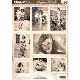 Vintage, Nostalgia und Shabby Shic Folha A4 Gestantzte 3D - imagem romântica