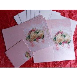 BASTELSETS / CRAFT KITS Edeles de cartes à des occasions festives, anneaux de mariage avec des roses blanches
