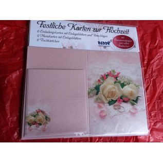 BASTELSETS / CRAFT KITS Edeles Kartenset zu festliche Anlässe, Eheringe mit weissen Rosen