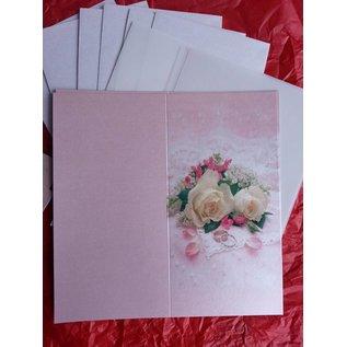 BASTELSETS / CRAFT KITS Edeles af kort til festlige lejligheder, vielsesringe med hvide roser