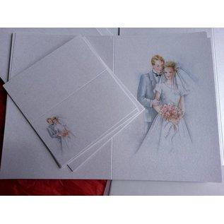 BASTELSETS / CRAFT KITS Edeles de cartes à des occasions festives, mariage blanc-bleu