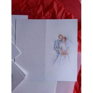 BASTELSETS / CRAFT KITS Edeles Kartenset zu festliche Anlässe, Brautpaar weiss-blau