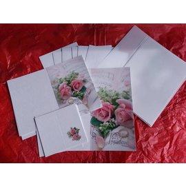 BASTELSETS / CRAFT KITS Edeles de cartões para ocasiões festivas, anéis de casamento com rosas cor de rosa