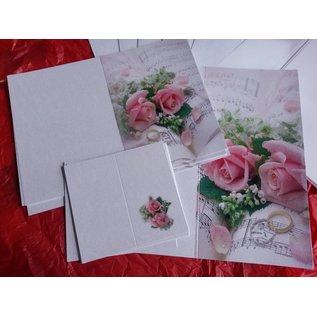 BASTELSETS / CRAFT KITS Edeles di carte per occasioni festive, anelli di nozze con rose rosa