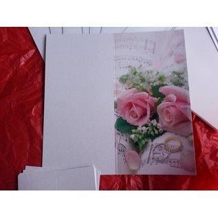 BASTELSETS / CRAFT KITS Edeles de cartes à des occasions festives, anneaux de mariage avec des roses roses