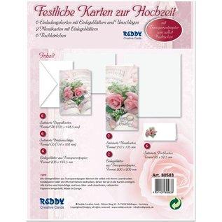 BASTELSETS / CRAFT KITS Edeles af kort til festlige lejligheder, vielsesringe med lyserøde roser