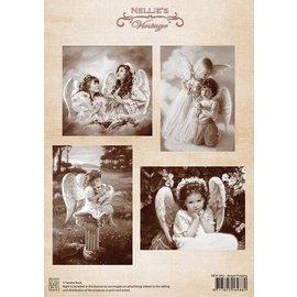 Nellie Snellen Decoupage folha A4, Angel Rezar