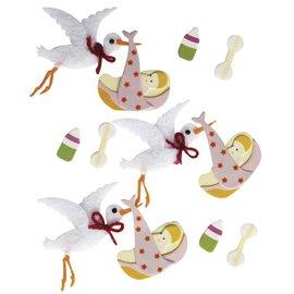 Embellishments / Verzierungen 3D Adesivos Decorativos: cegonha bebê com cola de ponto, 12 peças